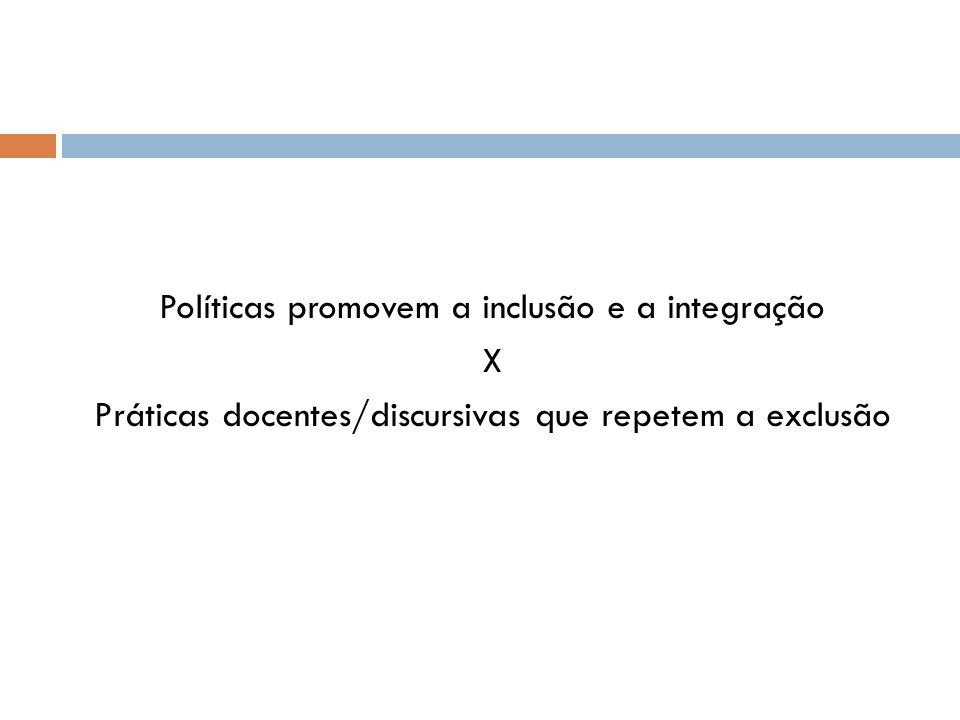 Políticas promovem a inclusão e a integração X Práticas docentes/discursivas que repetem a exclusão