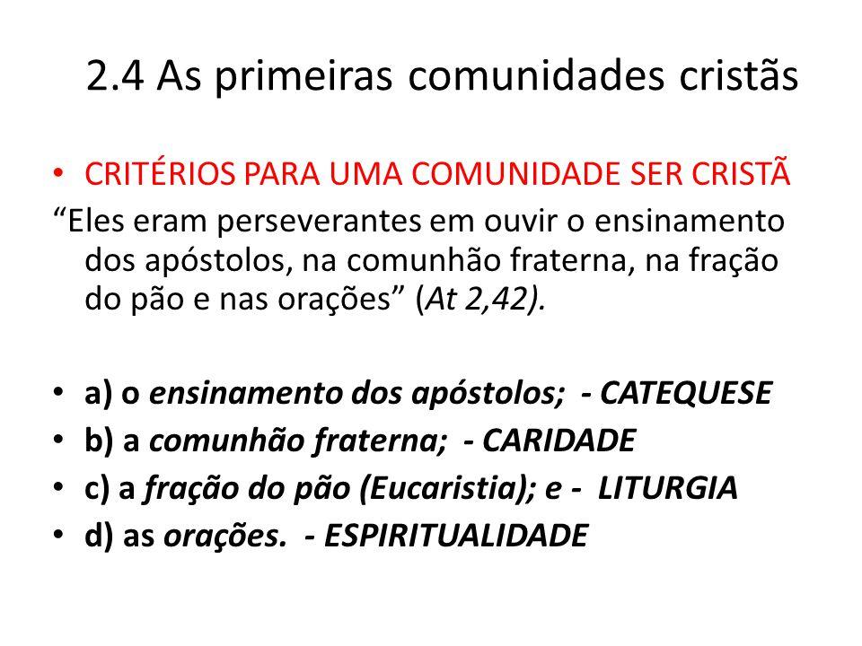 2.4 As primeiras comunidades cristãs