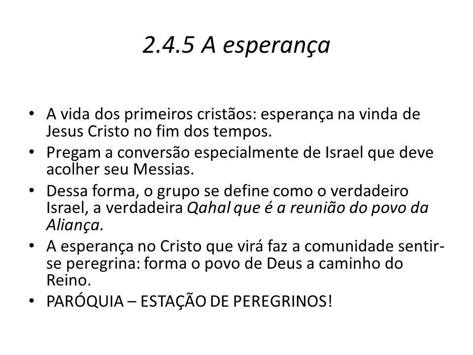 2.4.5 A esperança A vida dos primeiros cristãos: esperança na vinda de Jesus Cristo no fim dos tempos.