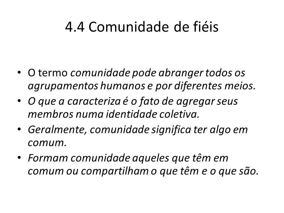 4.4 Comunidade de fiéis O termo comunidade pode abranger todos os agrupamentos humanos e por diferentes meios.