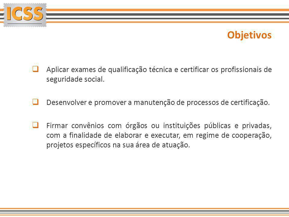 Objetivos Aplicar exames de qualificação técnica e certificar os profissionais de seguridade social.