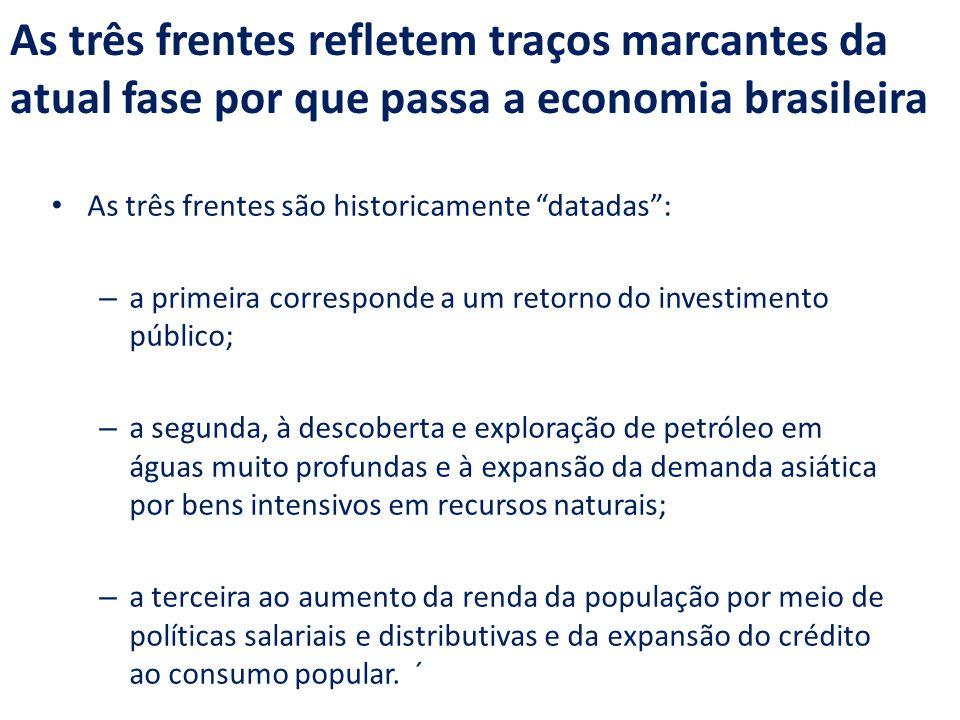 As três frentes refletem traços marcantes da atual fase por que passa a economia brasileira