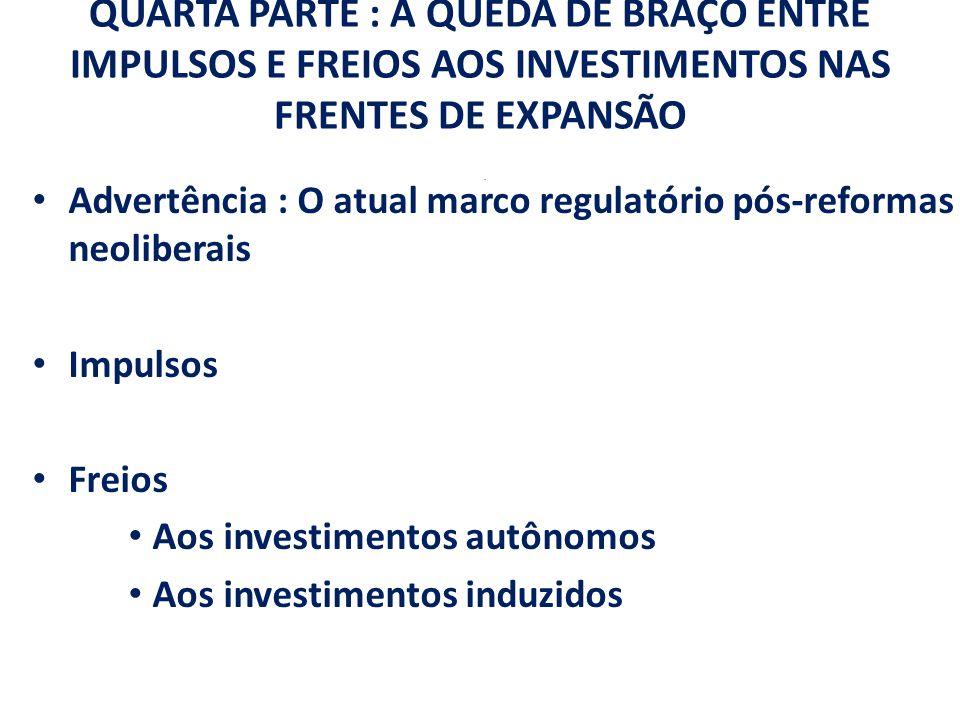 QUARTA PARTE : A QUEDA DE BRAÇO ENTRE IMPULSOS E FREIOS AOS INVESTIMENTOS NAS FRENTES DE EXPANSÃO .