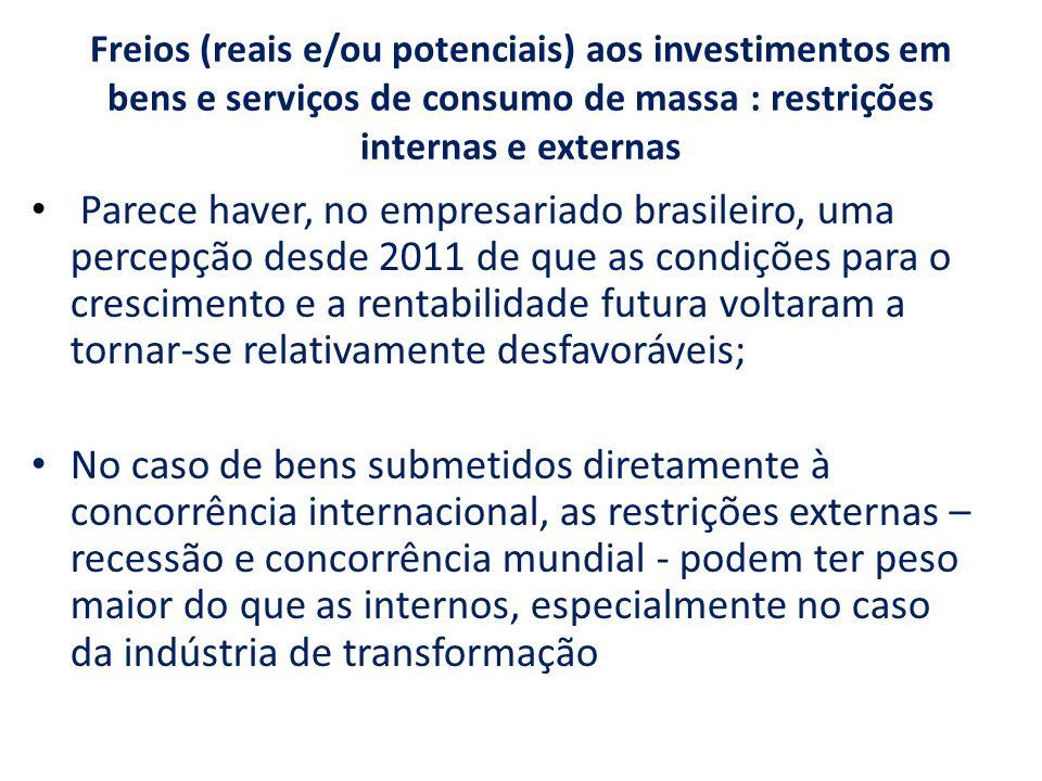 Freios (reais e/ou potenciais) aos investimentos em bens e serviços de consumo de massa : restrições internas e externas