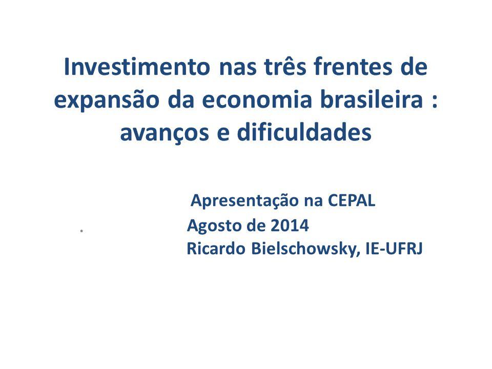 Investimento nas três frentes de expansão da economia brasileira : avanços e dificuldades Apresentação na CEPAL Agosto de 2014 Ricardo Bielschowsky, IE-UFRJ