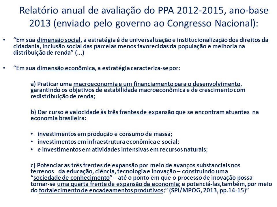 Relatório anual de avaliação do PPA 2012-2015, ano-base 2013 (enviado pelo governo ao Congresso Nacional):