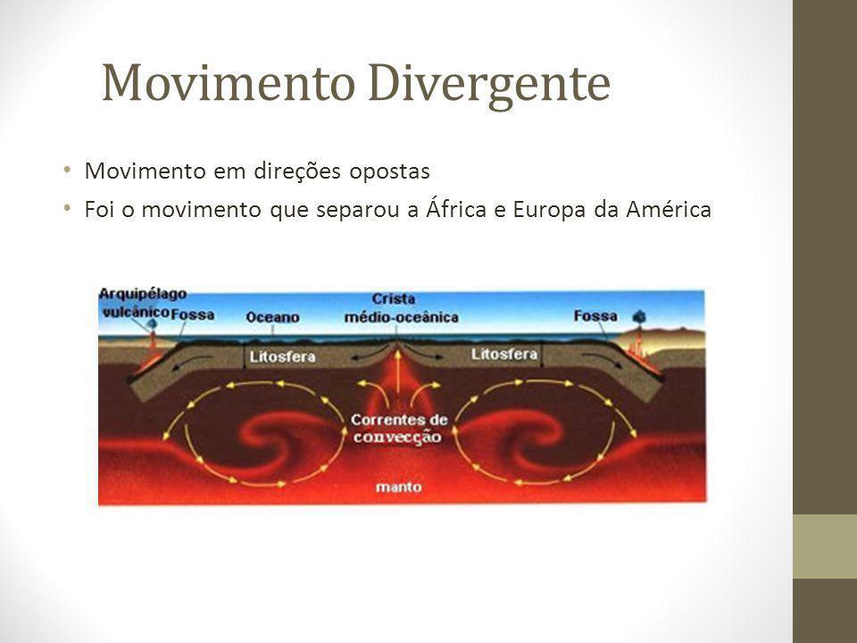 Movimento Divergente Movimento em direções opostas