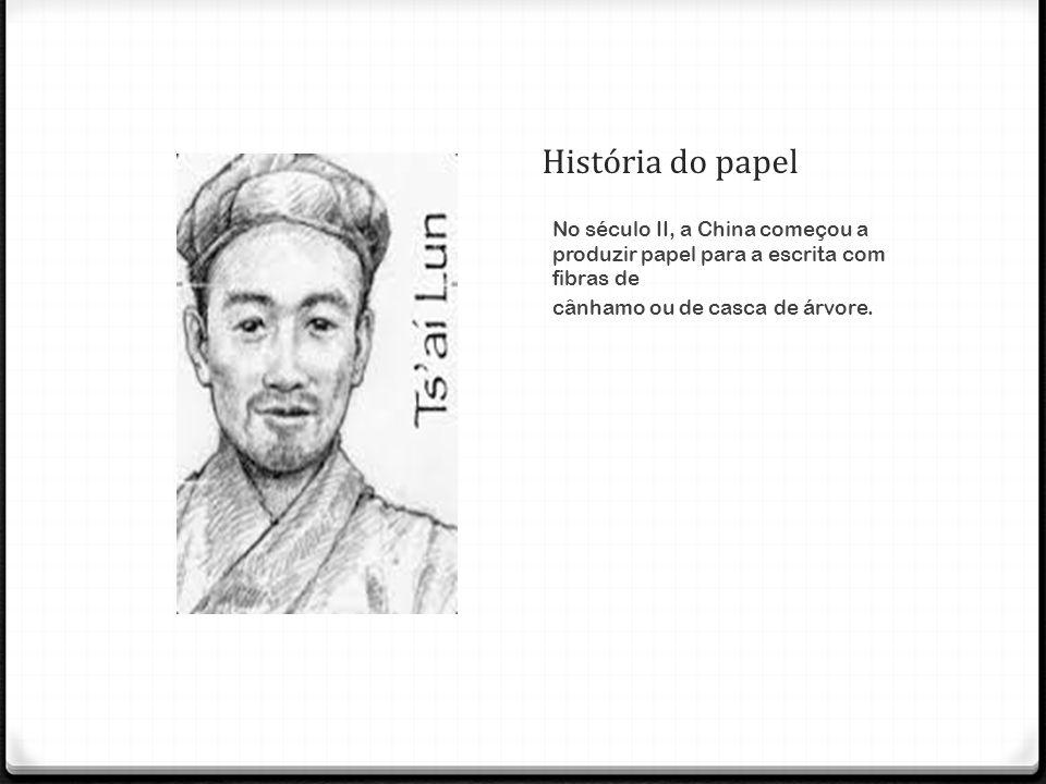 História do papel No século II, a China começou a produzir papel para a escrita com fibras de.