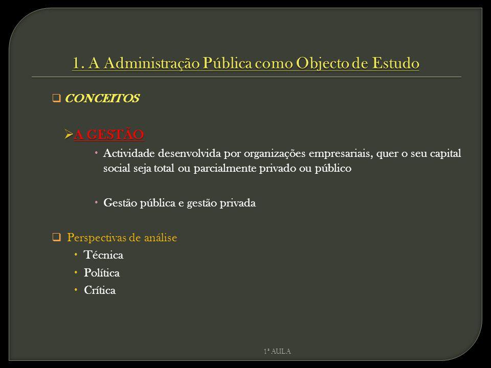 1. A Administração Pública como Objecto de Estudo