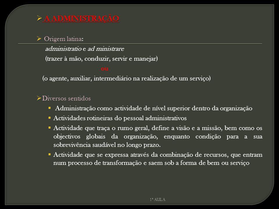 A ADMINISTRAÇÃO Origem latina: administratio e ad ministrare