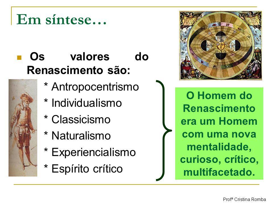 Em síntese… Os valores do Renascimento são: * Antropocentrismo