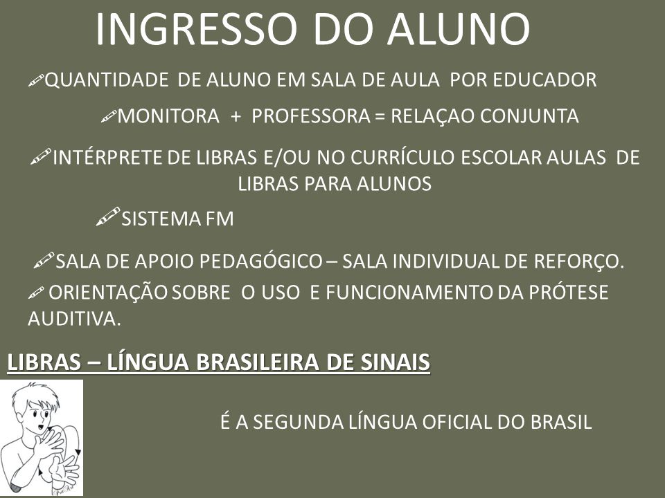 INGRESSO DO ALUNO SISTEMA FM LIBRAS – LÍNGUA BRASILEIRA DE SINAIS