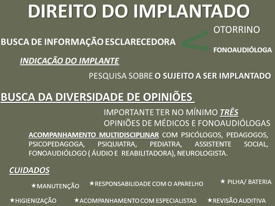 DIREITO DO IMPLANTADO BUSCA DA DIVERSIDADE DE OPINIÕES OTORRINO
