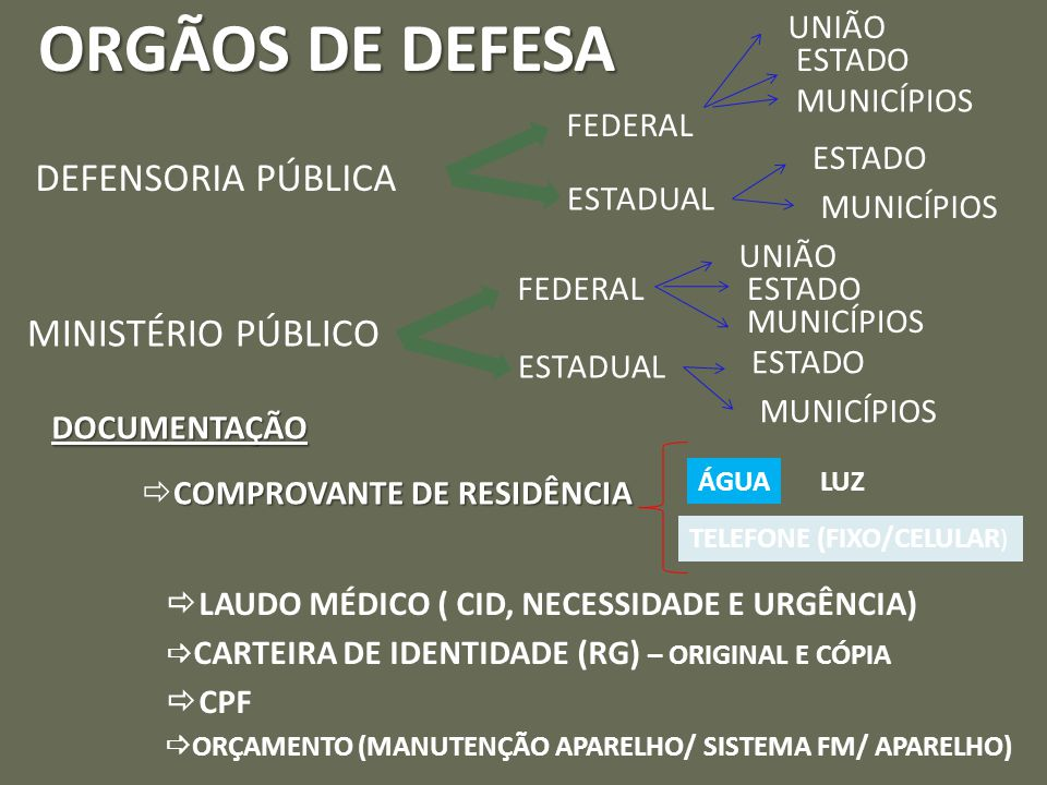 ORGÃOS DE DEFESA DEFENSORIA PÚBLICA MINISTÉRIO PÚBLICO UNIÃO ESTADO