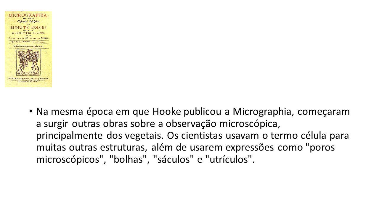 Na mesma época em que Hooke publicou a Micrographia, começaram a surgir outras obras sobre a observação microscópica, principalmente dos vegetais.