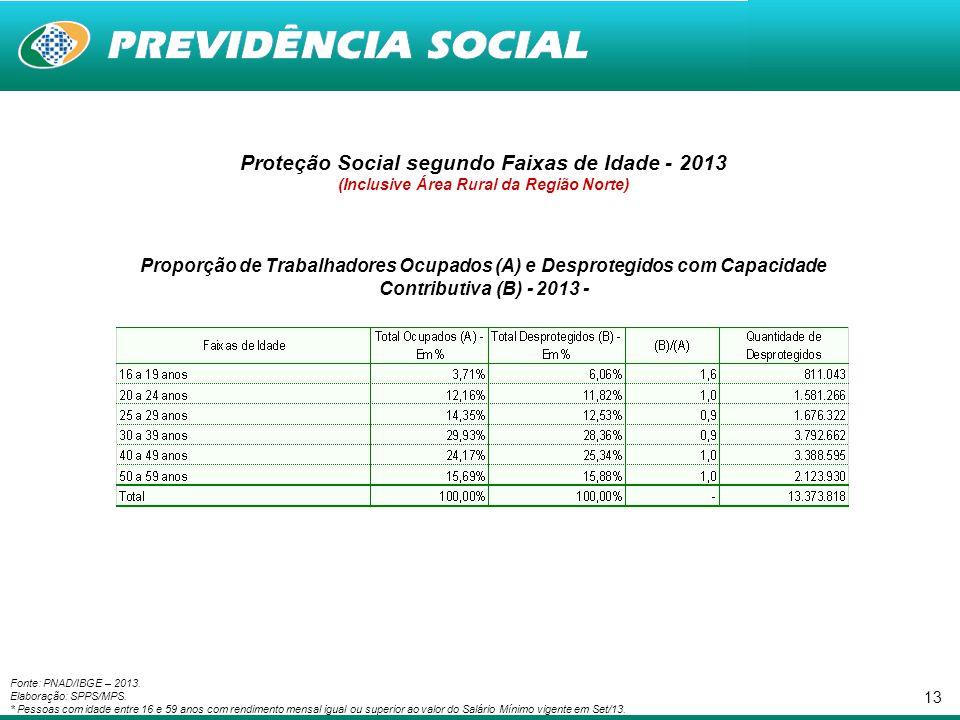 Proteção Social segundo Faixas de Idade - 2013