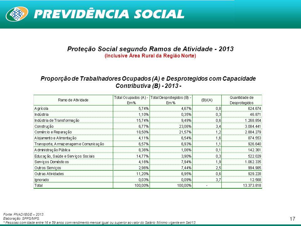Proteção Social segundo Ramos de Atividade - 2013