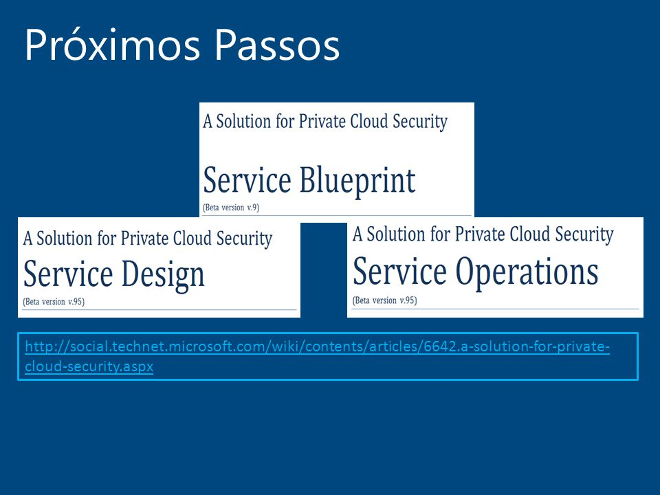 Próximos Passos http://social.technet.microsoft.com/wiki/contents/articles/6642.a-solution-for-private-cloud-security.aspx.