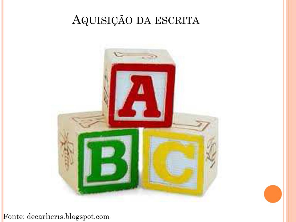 Aquisição da escrita Fonte: decarlicris.blogspot.com