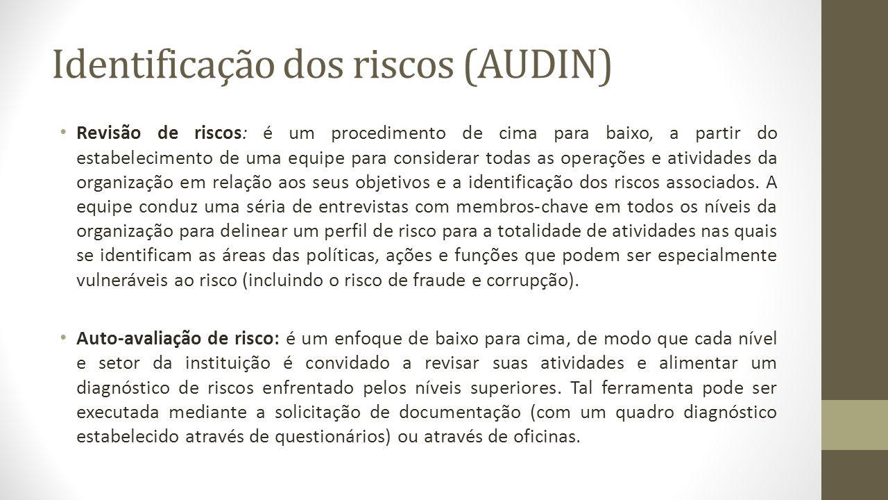Identificação dos riscos (AUDIN)