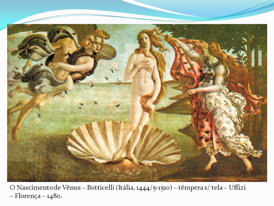 O Nascimento de Vênus – Botticelli (Itália, 1444/5-1510) – têmpera s/ tela – Uffizi – Florença – 1480.
