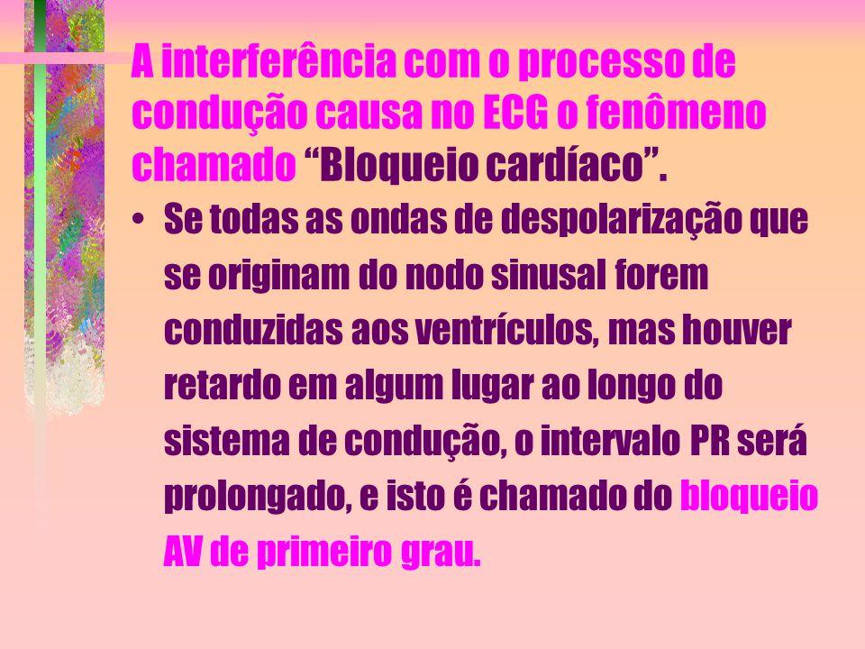 A interferência com o processo de condução causa no ECG o fenômeno chamado Bloqueio cardíaco .