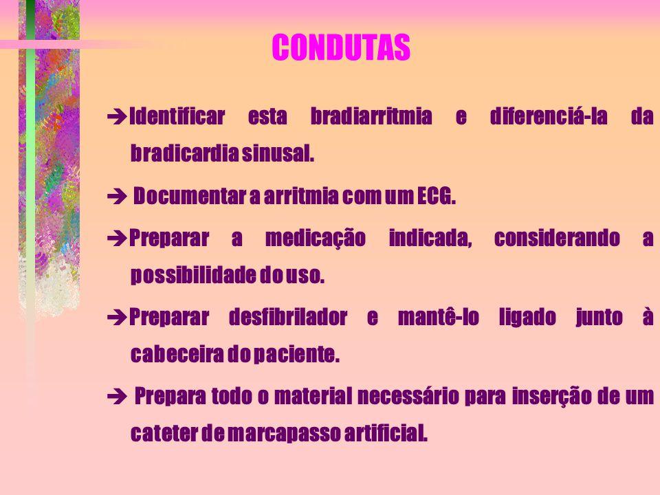 CONDUTAS Identificar esta bradiarritmia e diferenciá-la da bradicardia sinusal.  Documentar a arritmia com um ECG.