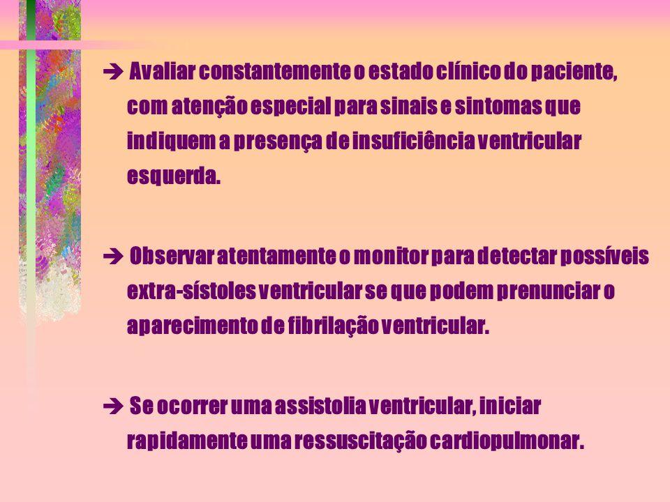  Avaliar constantemente o estado clínico do paciente, com atenção especial para sinais e sintomas que indiquem a presença de insuficiência ventricular esquerda.