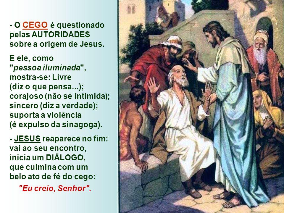 - O CEGO é questionado pelas AUTORIDADES sobre a origem de Jesus.