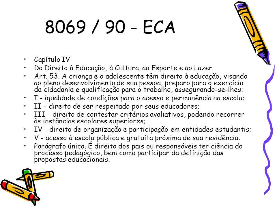 8069 / 90 - ECA Capítulo IV. Do Direito à Educação, à Cultura, ao Esporte e ao Lazer.