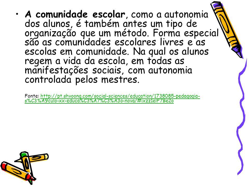 A comunidade escolar, como a autonomia dos alunos, é também antes um tipo de organização que um método.