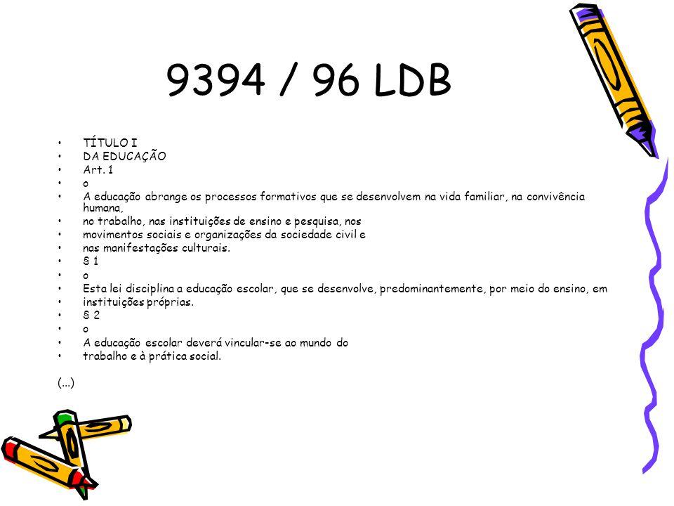 9394 / 96 LDB TÍTULO I DA EDUCAÇÃO Art. 1 o