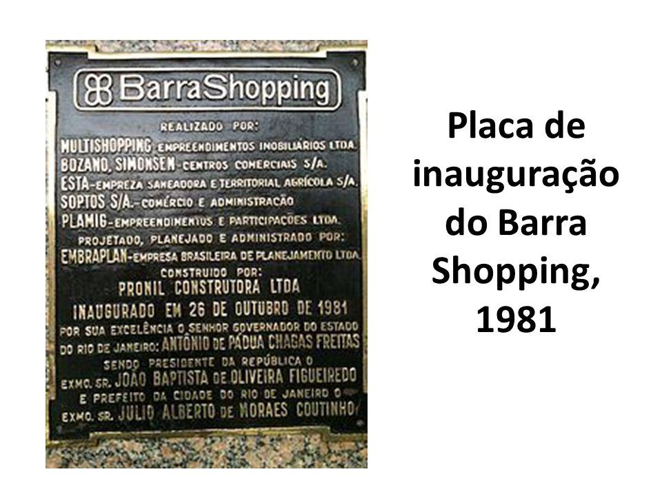 Placa de inauguração do Barra Shopping, 1981
