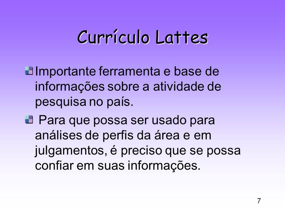 Currículo Lattes Importante ferramenta e base de informações sobre a atividade de pesquisa no país.
