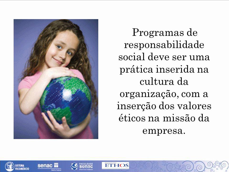 Programas de responsabilidade social deve ser uma prática inserida na cultura da organização, com a inserção dos valores éticos na missão da empresa.
