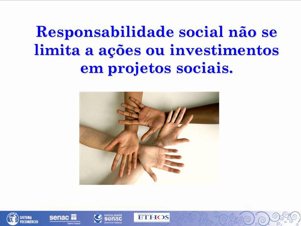 Responsabilidade social não se limita a ações ou investimentos em projetos sociais.