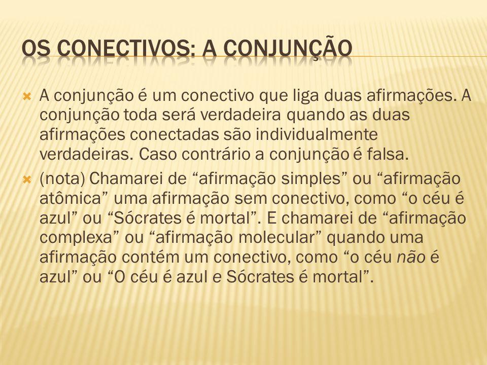 Os conectivos: a conjunção