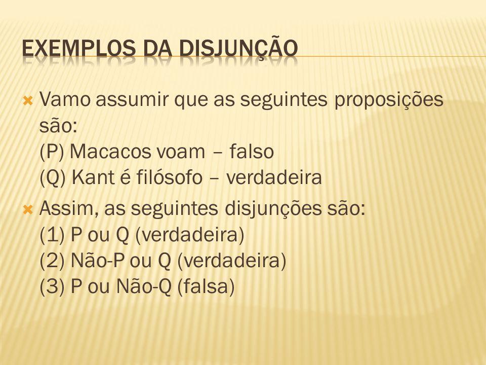 Exemplos da disjunção Vamo assumir que as seguintes proposições são: (P) Macacos voam – falso (Q) Kant é filósofo – verdadeira.