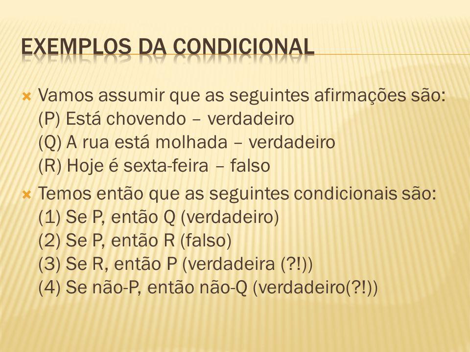 Exemplos da condicional