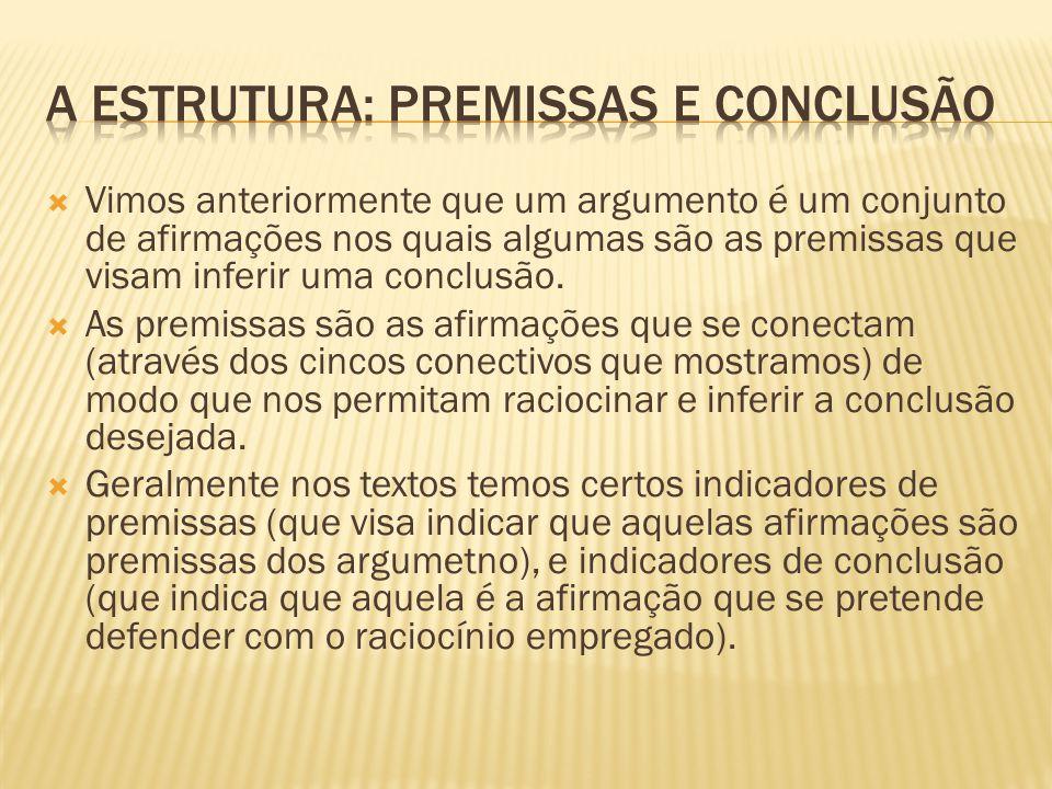 A estrutura: premissas e conclusão