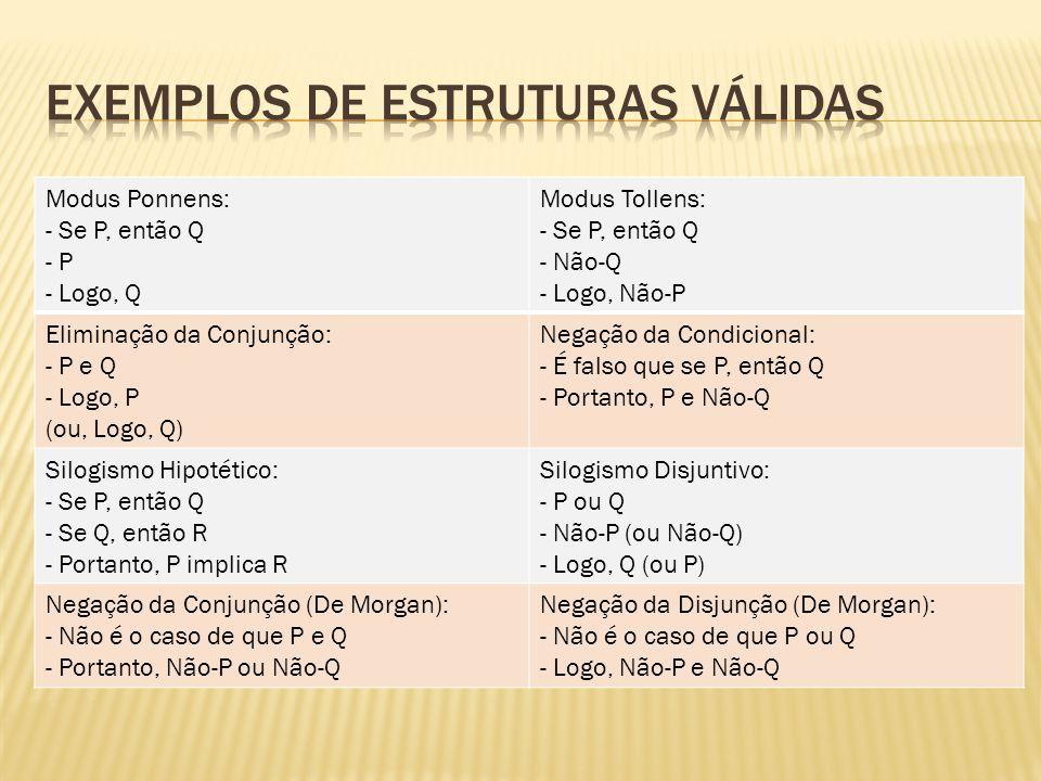 Exemplos de estruturas válidas