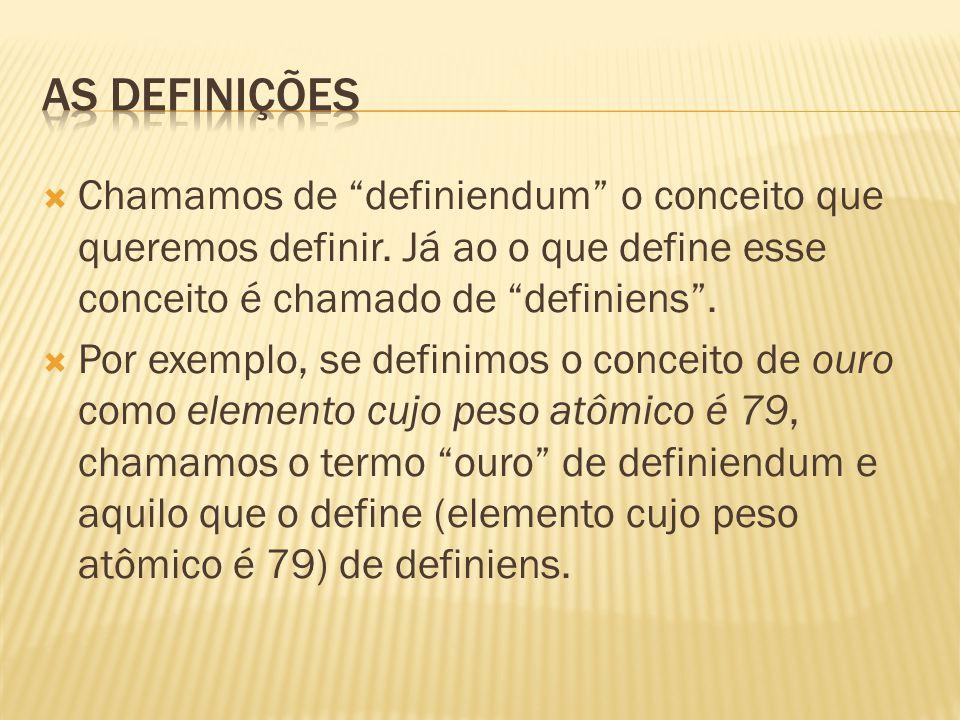 As definições Chamamos de definiendum o conceito que queremos definir. Já ao o que define esse conceito é chamado de definiens .
