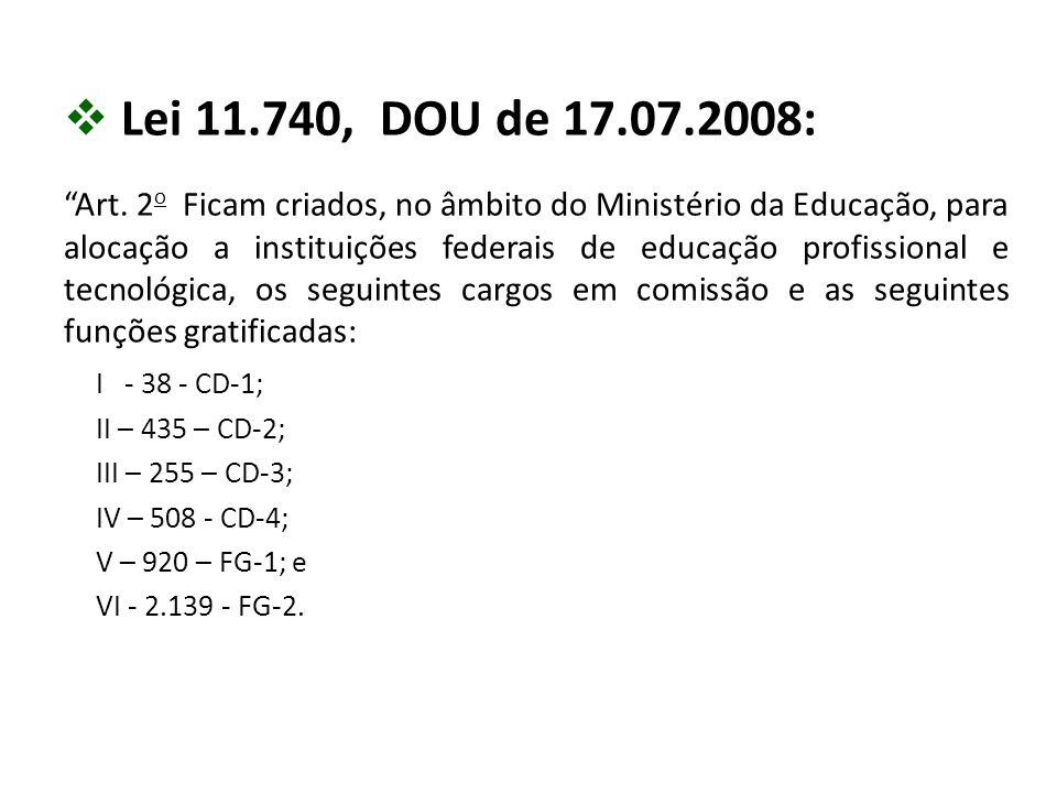 Lei 11.740, DOU de 17.07.2008: