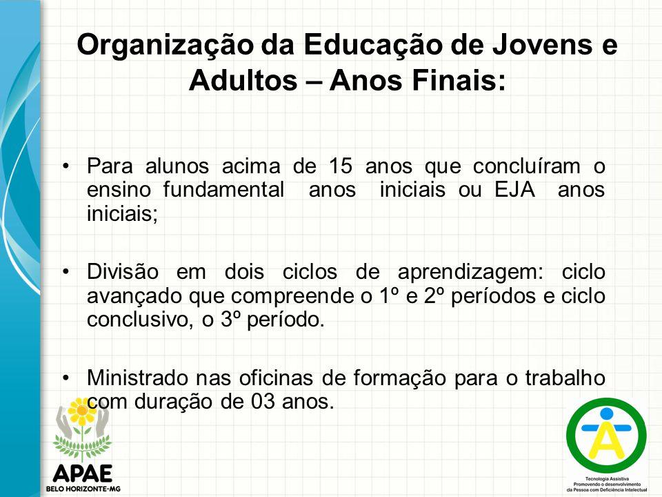 Organização da Educação de Jovens e Adultos – Anos Finais: