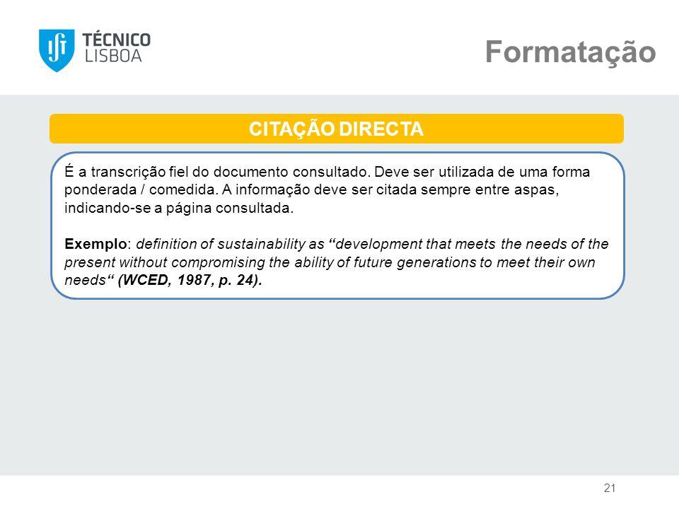 Formatação CITAÇÃO DIRECTA
