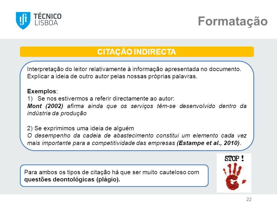 Formatação CITAÇÃO INDIRECTA
