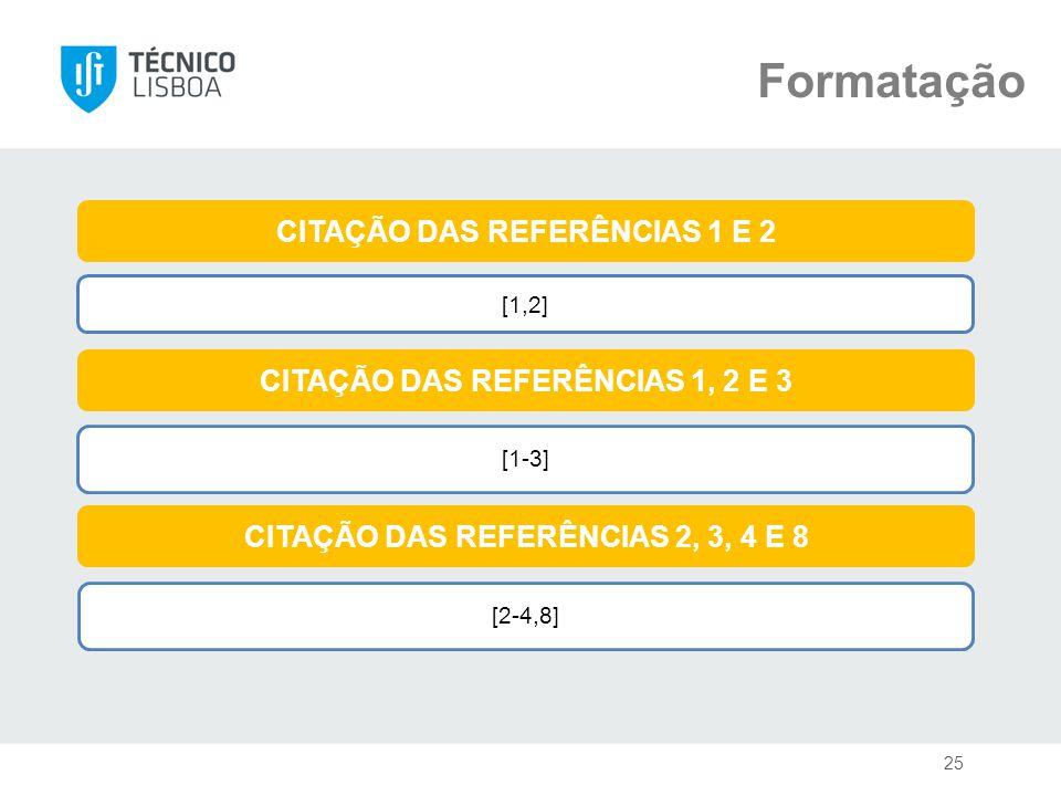 Formatação CITAÇÃO DAS REFERÊNCIAS 1 E 2