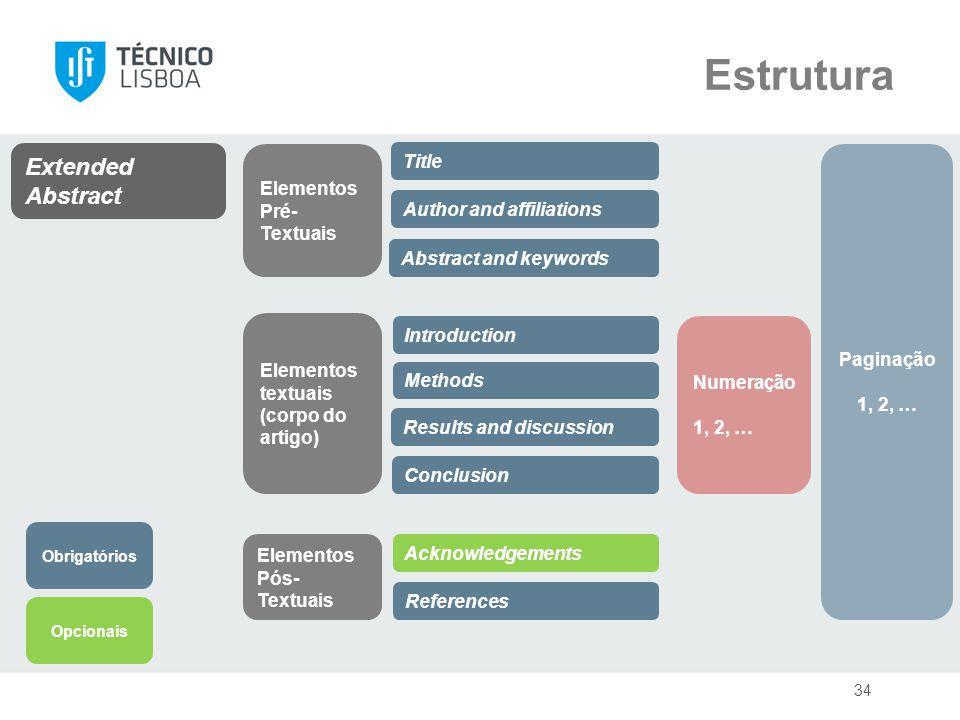 Estrutura Extended Abstract Elementos Pré-Textuais Title Paginação