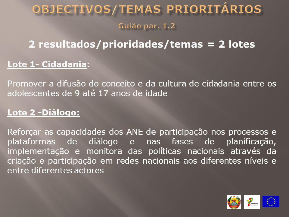 Objectivos/temas prioritários Guião par. 1.2