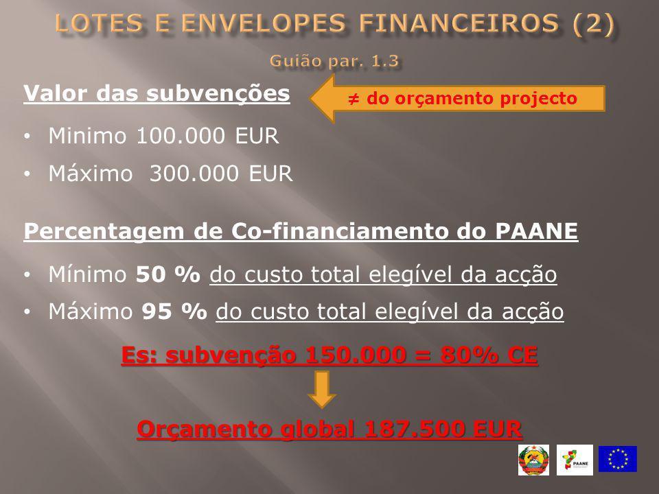 Lotes e envelopes financeiros (2) Guião par. 1.3